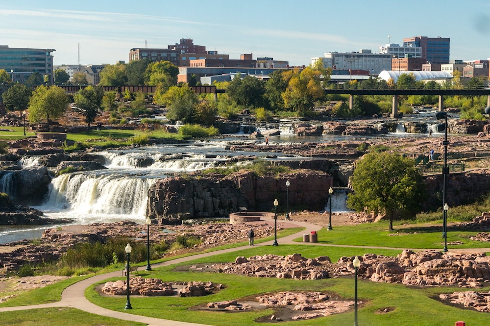 A picture of the river running through Rapid City, South Dakota.